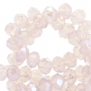 Facet kralen top quality disc 4x3 mm Blushed beige rose-pearl shine coating