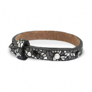 Cuoio armband voor kids mosaic Black