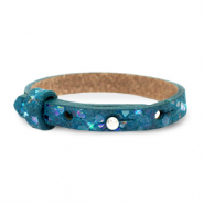 Cuoio armband voor kids mosaic Night tide green