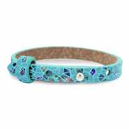 Cuoio armband voor kids mosaic Turquoise