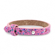 Cuoio armband voor kids mosaic Fuchsia orchid rose
