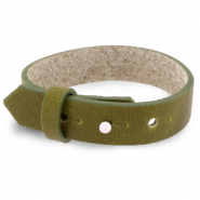Armbanden Cuoio leer 15 mm voor 20 mm cabochon Olive green