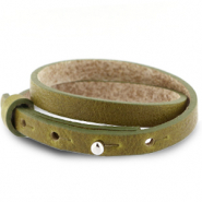 Armbanden Cuoio leer 8 mm dubbel voor 12 mm cabochon Olive green