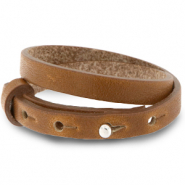 Armbanden Cuoio leer 8 mm dubbel voor 12 mm cabochon Saddle brown