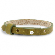 Armbanden Cuoio leer 8 mm voor 12 mm cabochon Olive green
