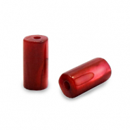 Schelp kralen tube Ruby red