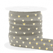 Elastisch lint hearts pattern Taupe-gold