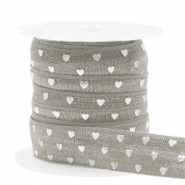 Elastisch lint hearts pattern Taupe-silver