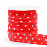 Elastisch lint hearts pattern Red-silver