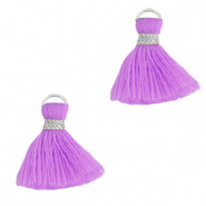 Kwastje 1.5cm Silver-light purple