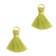 Kwastje 1cm Gold-light olive green