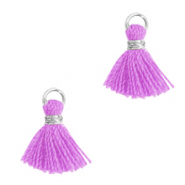 Kwastje 1cm Silver-light purple