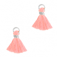 Kwastje 1cm Silver-bright pink