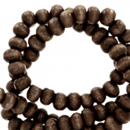Houten kralen 6mm rond Dark chocolate brown