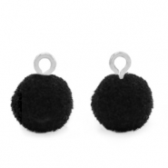 Bedels pompom met oog 10mm Silver-Black