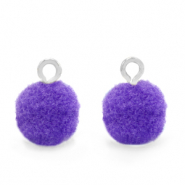 Bedels pompom met oog 10mm Silver-Purple