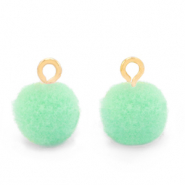 Bedels pompom met oog 10mm Gold-Green ash