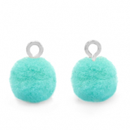 Bedels pompom met oog 10mm Silver-Icy morn blue