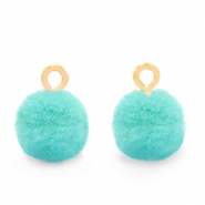 Bedels pompom met oog 10mm Gold-Icy morn blue