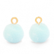 Bedels pompom met oog 10mm Gold-Pastel blue