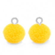 Bedels pompom met oog 10mm Silver-Sunshine yellow