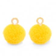 Bedels pompom met oog 10mm Gold-Sunshine yellow