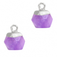 Hangers van natuursteen hexagon Purple-silver