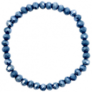 Facet armbanden top quality 6x4mm Peacoat blue-pearl shine coating