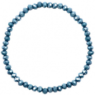 Facet armbanden top quality 4x3mm Peacoat blue-pearl shine coating