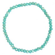 Facet armbanden top quality 4x3mm Light teal green-pearl shine coating