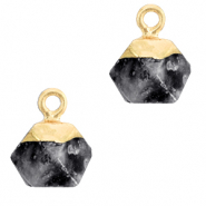 Hangers van natuursteen hexagon Anthracite-gold