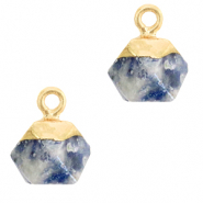 Hangers van natuursteen hexagon Blue white-gold