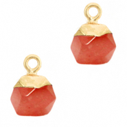 Hangers van natuursteen hexagon Crimsom red-gold
