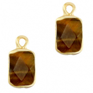 Hangers van natuursteen rectangle Topaz brown-gold