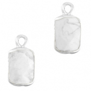 Hangers van natuursteen rectangle Marble white-silver