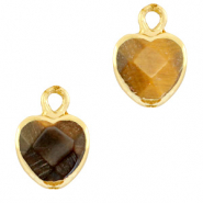 Hangers van natuursteen heart Topaz brown-gold