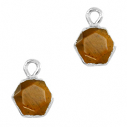 Hangers van natuursteen hexagon Topaz brown-silver