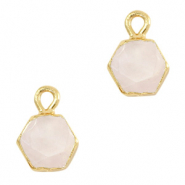 Hangers van natuursteen hexagon White rose-gold