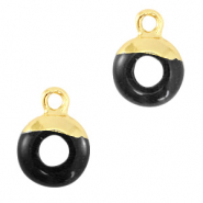 Hangers van natuursteen circle 10mm Black-gold