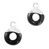 Hangers van natuursteen circle 10mm Black-silver