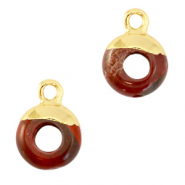 Hangers van natuursteen circle 10mm Terracotta brown-gold