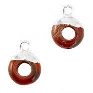 Hangers van natuursteen circle 10mm Terracotta brown-silver