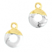 Hangers van natuursteen circle 10mm Marble white-gold