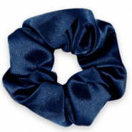 Scrunchie silky haarelastiek Deep blue