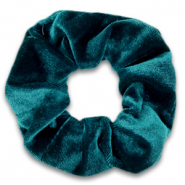Scrunchie velvet haarelastiek Peacock green