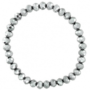 Facet armbanden top quality 6x4mm Silver-pearl shine coating
