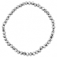 Facet armbanden top quality 4x3mm Silver-pearl shine coating