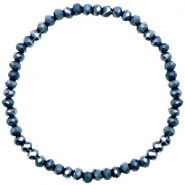 Facet armbanden top quality 4x3mm Classic blue-pearl shine coating
