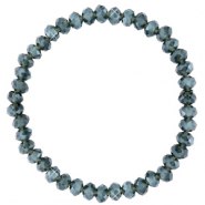 Facet armbanden top quality 6x4mm Greige blue-pearl shine coating