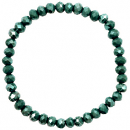 Facet armbanden top quality 6x4mm Dark green-pearl shine coating
